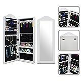 Todeco - Schmuckschrank mit Spiegel , Spiegel Organizer - Material: MDF - 96 x 36 x 9 cm, Weiß, Wandbefestigung