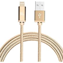 iPhone Charger Cord, LAX Long Apple MFi Certified Fast and Strong Braided Lightning Cable for iPhone 7 / 7 Plus / 6s / 6 / SE / iPad Air 2 / Air / Mini 4 / Pro (3 m / 10 Feet, Gold)