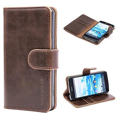 Mulbess Ledertasche im Ständer Book Case / Kartenfach für Sony Xperia Z1 Compact Tasche Hülle Leder Etui,Vintage (Compact Z1)