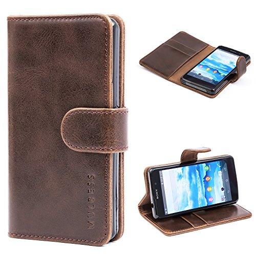 Mulbess Ledertasche im Ständer Book Case / Kartenfach für Sony Xperia Z1 Compact Tasche Hülle Leder Etui,Vintage Braun