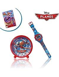 WD10439 Reloj + Despertador para niños motivo PLANES - AVIONES - DISNEY