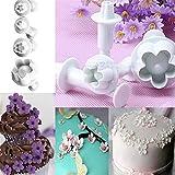 HENGSONG 4 Stück Blumen Ausstecher Tortendeko Marzipan Fondant Backen Stempel Plätzchenformen Keks Ausstechformen Set mit Auswerfer