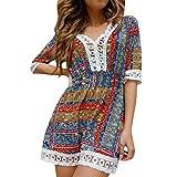 ღWave166 • Lace Hem Dress Hollow Out Dress Tropical Dresses For Women African Pattern Dress Ethnic Dresses Women Ladies Casual Dresses V Neck Dresses For Women Elegant