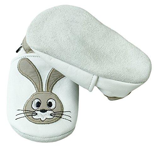 PantOUF Weiches Leder Babyschuhe und Kleinkind schuhe, Krabbelschuhe Weiß mit einem Kaninchen