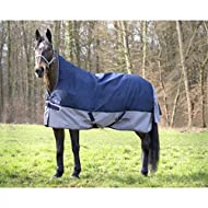 "EQUI-THEME Couverture TYREX 600 D High Neck 6'9"" - 206 cm - Bleu et Gris"