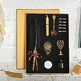 Huieng - Pennini in acciaio INOX e set di carta da lettere in stile retrò, porta timbri, candela in cera, penna in metallo, penna per calligrafia inglese 26cm Nero
