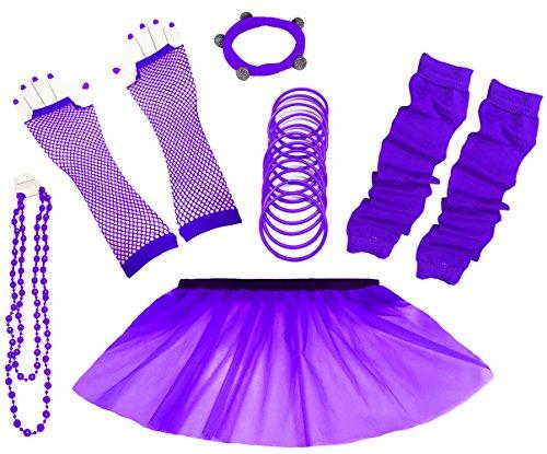 A-Express 80er Damen Neon Tütü Rock Ebene Beinstulpen Handschuhe Halskette Tüll Fluo Ballett Verkleidung Party Tutu Rock Kostüm Set (36-44, Lila)