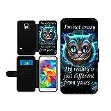 Alice im Wunderland I'm not crazy Cat Cheschire Kunstleder wallet Handy Tasche Schutz Hülle für Samsung Galaxy S5 Mini