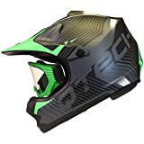 CASCO para niños y GAFAS Motocross Moto BMX Quad ATV Off Road Negro Mate - M (55-56cm) - Verde