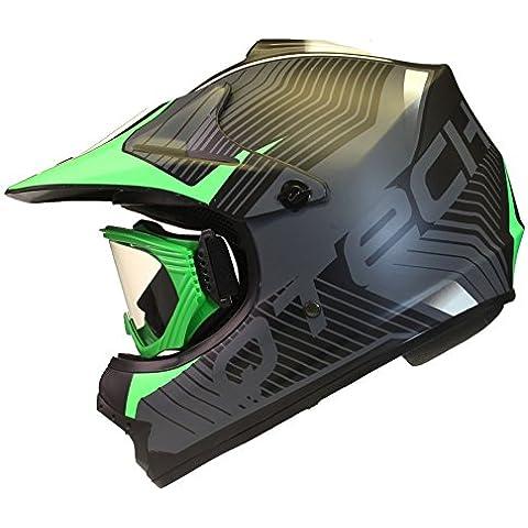 CASCO para niños y GAFAS Motocross Moto BMX Quad ATV Off Road Negro Mate - S (53-54cm) - Verde