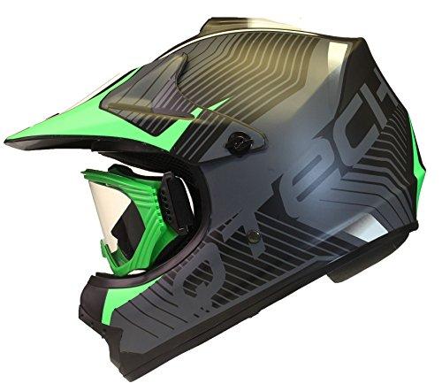 KINDER cross HELM und Schutzbrille Goggles MX BMX Quad ATV Motorradhelm Motorrad - Grün - S (53-54cm)