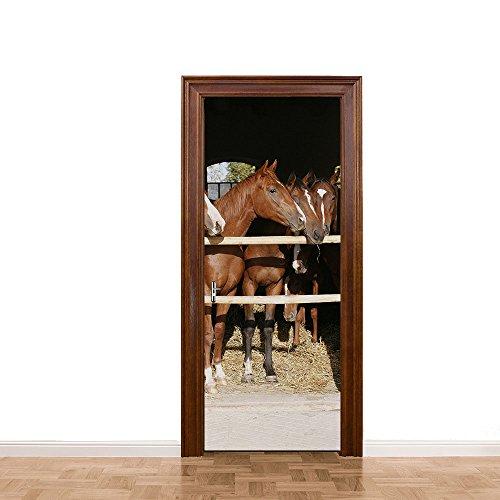 DMMASH Pferdestall Tür Aufkleber 3D Fototapete Wandbild von Einem Abnehmbaren Selbstklebende Wandaufkleber Büro Wohnzimmer Schlafzimmer Tür Heimtextilien 77 X 200CM