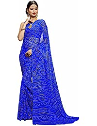 Miraan Women's Chiffon Saree With Blouse Piece (Ru2301Dblue_Blue)