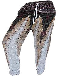 by soljo - Pantalon pantalons de loisirs sportifs pantalon fleurs blanche
