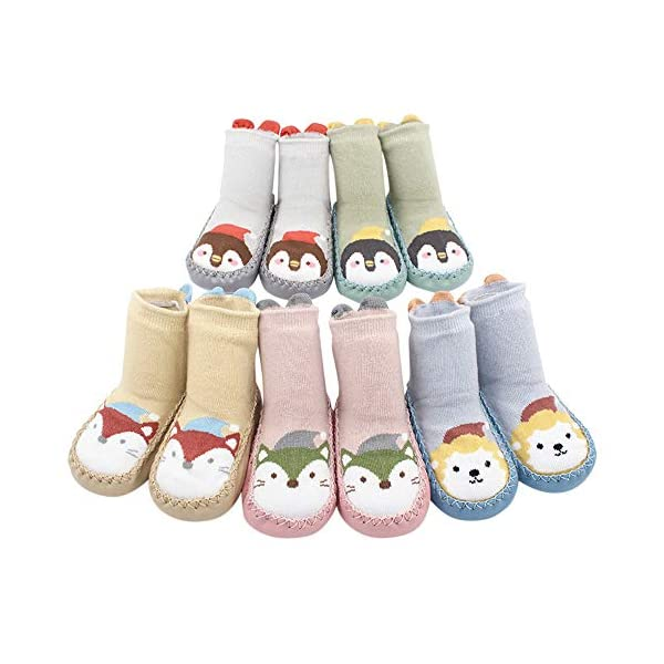MAYOGO Calcetines Zapatos Antideslizantes para Bebé Calcetines Largos Antideslizantes Estampado Animal para Niñas… 2