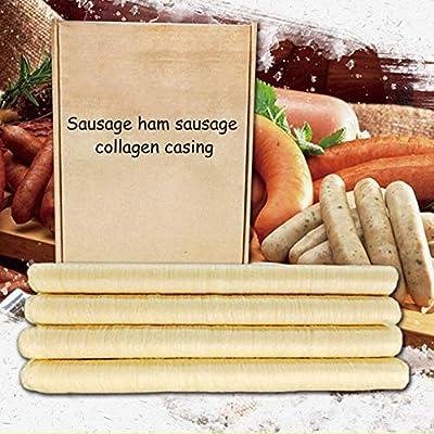 Godya 14M Enveloppe À Saucisse Enveloppe De Collagène Naturel Sec Comestible Accessoires De Cuisine pour Saucisses Maison Jambon, Diamètre 26mm