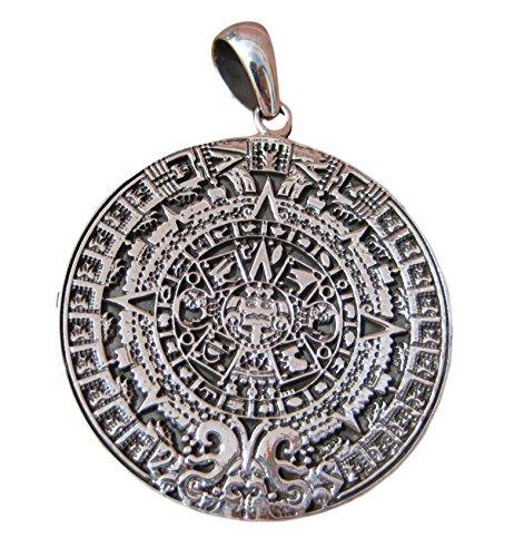 925 Sterling Silver Maya Calendario Maya del Messico Collana A40 925 Sterling Silver Maya Mayan Calendar Mexico Pendant Necklace A40 - Calendario Maya