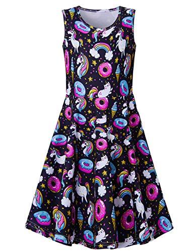Fanient Mädchen Kleider Sommer ärmelloses Kostüm Donut Unicorn Gedruckt Sommerkleid für die Freizeitschule 8-9 Jahre