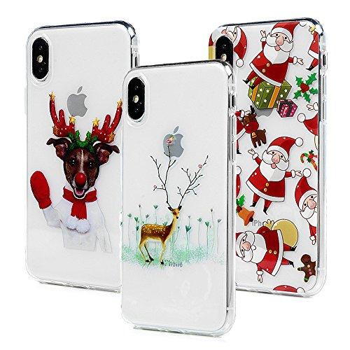3x Cover iPhone X, Custodia Silicone Morbido Trasparente TPU Flessibile Gomma design IMD - MAXFE.CO Case Ultra Sottile Cassa Protettiva per iPhone X - Natale 3 Natale 1