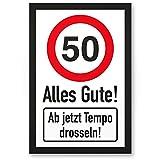 DankeDir! 50 Tempo Drosseln, Kunststoff Schild - Alles Gute, Geschenk 50. Geburtstag, Geschenkidee Geburtstagsgeschenk Fünzigsten, Geburtstagsdeko/Partydeko / Party Zubehör/Geburtstagskarte