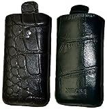 Suncase Étui en cuir pour BlackBerry Pearl 3G 9105 Languette de traction Croco noir (Import Allemagne)