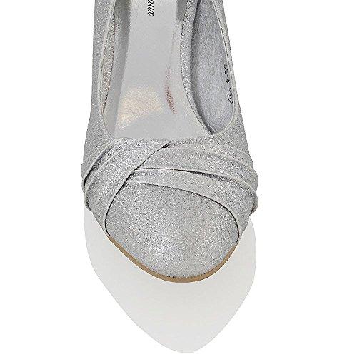 Essex Glam Mocassino Donna Matrimonio Tacco Basso Argento Glitter