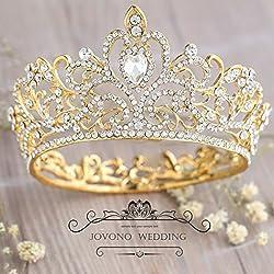 jovono Vintage cristal corona para las mujeres Rhinestone reina Tiara boda accesorios para el pelo