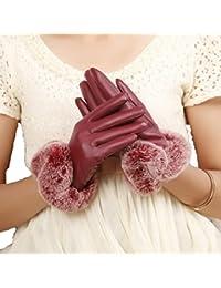 4c234144eaccae Targogo Handschuhe Weiblicher Herbst Winter Nett Dicker Mädchen Warme  Autofahrt Wind Und Wasser Kunstpelz Flauschig Lederhandschuhe