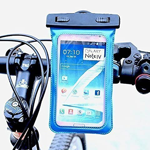 LKB29L BLUE AMPHIBIA Watertight Smartphone Bag + Mount, Suitable e.g. for: Apple iPhone 6 6S Plus 7 Galaxy S7 S6 Edge Note 6 5 4 with/without Bumper. Universal for Hiking Fishing Sailing Yacht Sport Bicycle MTB Motorcycle Offroad Bike Smartphone GPS with Water Snow Protection Equipment Cover Quick Assembly 360° turnable for Powerbank Honor 7 Wiko HUAWEI RIO G8 Mate 7 P8 Nexus 5x Ascend LG G Flex Google Fire Phone