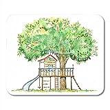 Schreibtischunterlage,Spielplatz Baumhaus Schaukel Rutsche Und Spielhaus Sommer Aquarell Wald Natur...