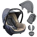 BAMBINIWELT Ersatzbezug für Maxi-Cosi CabrioFix 6-tlg. GRAU/BEIGE, Bezug für Babyschale, Komplett-Set