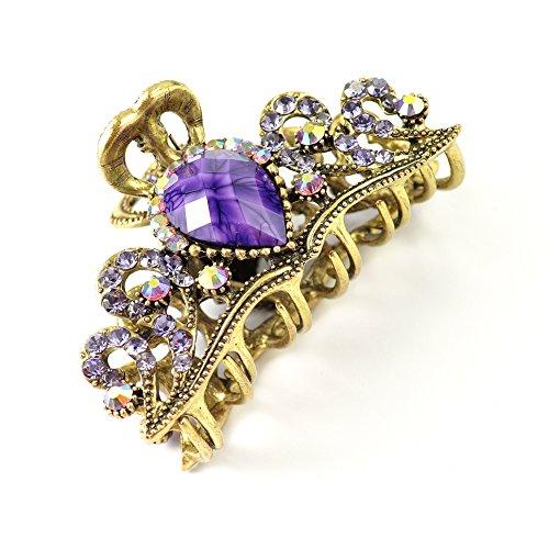 8 cm vintage/style antique Doré brûlé Cristal à strass Cheveux Clamp/Cheveux Grip – Violet/lilas