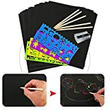 KAIMENG Scratch Art kit Fogli di Disegni 20 fogli con 4 righelli e 10 stilo in legno