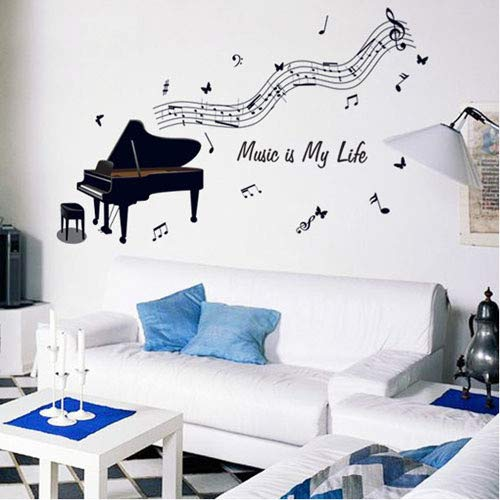 Diy Home Decor Removbale Piano Notes Musik Zimmer Kunst Wandaufkleber Pvc Aufkleber Vinilos Pegatinas De Pared