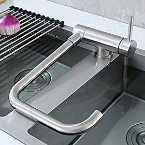 GFEI Grifo giratorio Universal, / 304 acero inoxidable cocina, plato plegable Cuenca grifo / frío y caliente, grifo / fregadero, grifo plegable