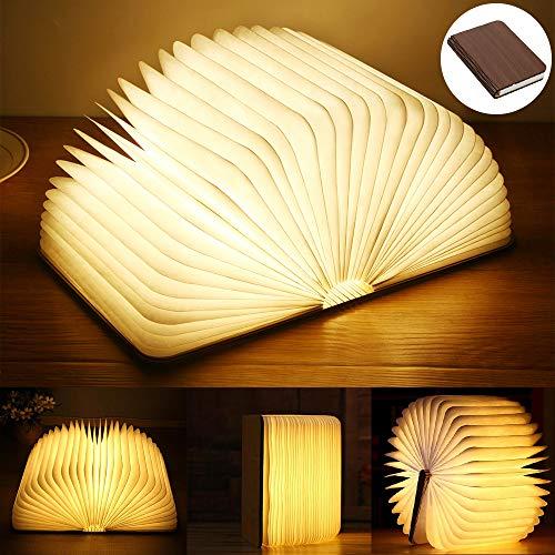 Yuanj Lampada Libro USB Ricaricabile Pieghevole in Legno Magnetico LED Light del Libro di Lamp - 2500mAh batterie al Litio scrivania Lampada da Tavolo - Luce Calda