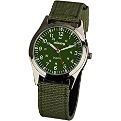 INFANTRY® Mens Analogue Quartz Wrist Watch Night Vision Military Green Dial Sport Nylon Strap
