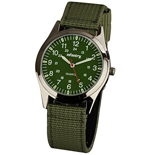 Infantry IN-018-G-N Herren Analoges Quarzwerk Armbanduhr Quarz Militäruhr Armee Outdoor Grün Nylon Armband