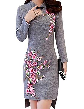 ALUK- Stile cinese - temperamento Retro Cheongsam a maniche lunghe Slim magliata abito in maglia ( colore : Gray...