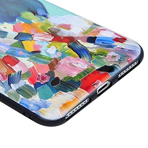 """Mavis's Diary Coque iPhone 7 Plus(5.5"""")Case de Protection, Antichoc Anti-poussière Slim Housse Étui TPU Silicone Souple Gel Ultra Fine Personnalité Universelle Dessin Coloré Relief Peinture hibou paon"""