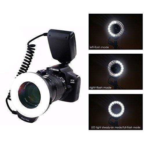 Ringblitz für Canon Nikon Panasonic Olympus Pentax SLR Kameras - Yeeteem 18 Makro LED Ring Blitzlicht Ringblitzleuchte Ringblitz RF-600D Enthält 4 Diffusoren und mit Adapterringen