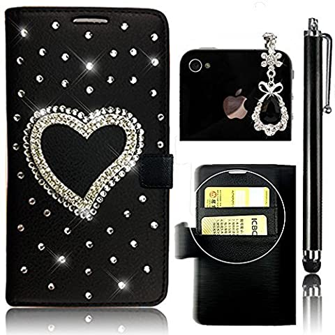 Sunroyal® Etui Samsung Galaxy Grand Prime (SM-G530 / SM-G530FZ) Housse Coque en PU Cuir Noir Portefeuille Premium Bling Diamant Strass Flip Case Cover de Protection Rabat Chic Pratique Pochette Porte Carte Magnetic Closure Rhinestone Cas Sac Swag Couvercle Rabattable PC Plastique Rigide Shell Couvrir Folio Couverture Coquille Arrière Leather avec Romantique Rhinestone Cœur Heart Love + Anti-poussière Plug + Stylet Tactile Pen