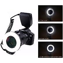Yeeteem 18 Macro LED Anello Flash RF-600D include Anello di Adattatore e Flash Diffusore per Canon, Nikon, Panasonic, Olympus, Pentax SLR Cameras