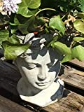 Pflanzbüste Valo, Keramik, grau, H 22 cm, Frauenbüste, Frauenkopf, Figur z. Bepflanzen