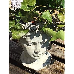 Exner Büste Antik-Look ca. 27×18 cm Pflanzgefäß – Matt-Grau – Für Pflanzen & Blumen – Antik Dekoration – Robuste Keramik…