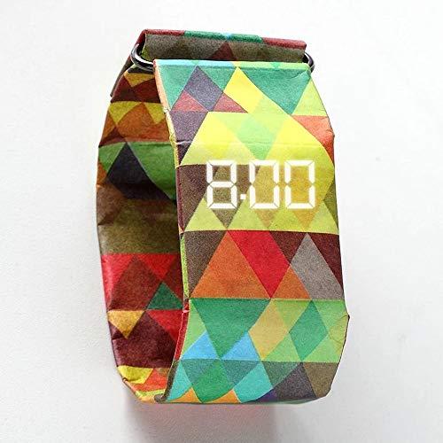 ZSLLO Neue Marke Frauen Uhr Wasserdichte Digitaluhr Papier Shell Uhr Falten Schnalle Uhr Mode Uhr Für Liebhaber (Farbe : A) (Indiglo Uhr)