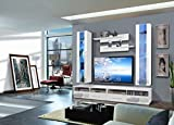 Wohnwand Schrankwand Anbauwand Alisa Hängewand Tv-Board MIT Led Beleuchtung Hochglanz Fronten Robustes Material Push Click System Beste Qualität Modern (Weiß)