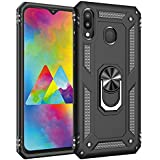 TecKraft Full Body Case Metal Ring Armor Kickstand Back Cover for Samsung Galaxy M20 (Black)