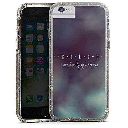 Apple iPhone 7 Bumper Hülle Bumper Case Glitzer Hülle Freunde Friends Family Bumper Case Glitzer gold