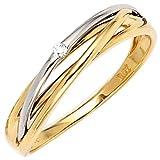 JOBO Damen-Ring 585 Gold Gelbgold Weißgold kombiniert 1 Diamant-Brillant 0,02ct. Größe 60